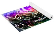Psychedelic Black Lab With Kerchief Yoga Mat