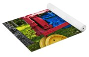 Red And Yellow Tractor Yoga Mat