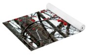 Red Berries White Sky Yoga Mat