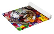 Three Jars Of Buttons Dice And Marbles Yoga Mat