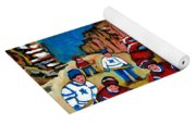 Verdun Rowhouses With Hockey - Paintings Of Verdun Montreal Street Scenes In Winter Yoga Mat