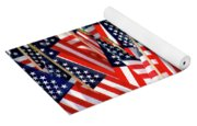 Wall Of Us Flags Yoga Mat
