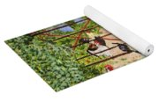 Welsh Farm Cockerels On Patrol Yoga Mat
