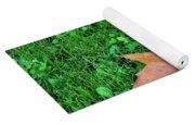 Wet Leaves On Grass Yoga Mat