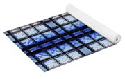 Blue Toned Glass Brick Window Abstract  Yoga Mat