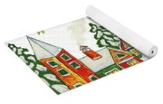 Christmas Picture In Green And Yellow Colours Yoga Mat