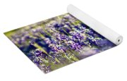 Lavender Purple Flower Blooming On Side Road In Texas At Sunset Yoga Mat