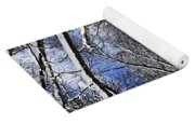 Path In Winter Forest Yoga Mat