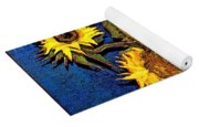 A Modern Look At Vincent's Vase With 5 Sunflowers Yoga Mat