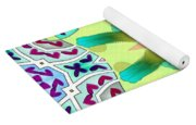 Abstract Seamless Pattern  - Yellow Blue Turquoise Purple Pink White Green Yoga Mat