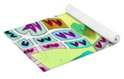 Abstract Seamless Pattern  - Yellow Green Purple Blue Gray White Yoga Mat