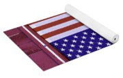 American Flag In Red Window Yoga Mat