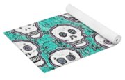 Aqua Skull Pattern Yoga Mat