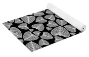 Black And White Leaf Abstract Yoga Mat