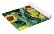 Butterfly And Wildflowers Spring Floral Garden Floral In Green And Yellow - Square Format Image Yoga Mat