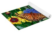 Butterfly Wildflowers Garden Oil Painting Floral Green Blue Orange-2 Yoga Mat