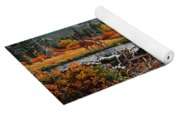 Western Mountain Landscape Autumn Mountain Man Trapper Beaver Dam Frontier Americana Oil Painting Yoga Mat