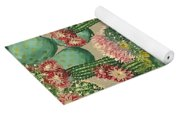 Assorted Blooming Cactus Plants Yoga Mat