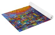 Barcelona Colorful Sunset Over Sagrada Familia Abstract City Knife Oil Painting Ana Maria Edulescu Yoga Mat