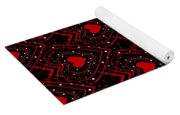 Black And Red Hearts Yoga Mat