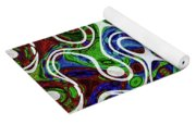 Black And White Lines Overlay Abstract Yoga Mat