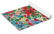 Blue And Red Flowers. Yoga Mat