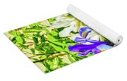 Blue And White Iris Yoga Mat