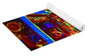 Blue Cafe In Springtime Yoga Mat