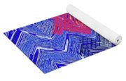 Blue Red And White Janca Abstract Panel Yoga Mat