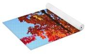 Blue Sky Red Autumn Leaves Sunlit Orange Baslee Troutman  Yoga Mat