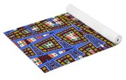 Blue Squares With Dots Yoga Mat