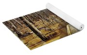 Boardwalk Over Golden Brown Iced Pond Yoga Mat