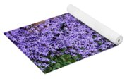 Brick Wall With Blue Flowers Yoga Mat