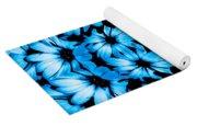 Bright Blue Daisies Yoga Mat