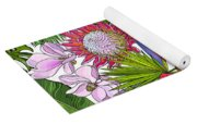 Brightly Colored Tropical Flowers And Ferns  Yoga Mat