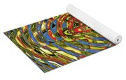 Building Of Circles And Waves Colored Yellow Red And Blue Yoga Mat