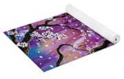 Champagne Tabby Cat In Cherry Blossoms Yoga Mat