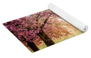 Cherry Flowers Garden Illuminated With Sunrise Beams Yoga Mat