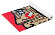 Chicago Blackhawks Hockey Team Vintage Logo Made From Old Recycled Illinois License Plates Red Yoga Mat