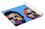 Coldplay Band Portrait Recycled License Plates Art On Blue Wood Yoga Mat