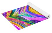 Colored Lines And Curls Yoga Mat