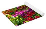 Colorful Dahlias In Garden Yoga Mat