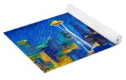 Colorful Seattle Skyline Panorama Yoga Mat