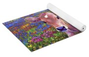 Contented Cow In Colorful Meadow Yoga Mat