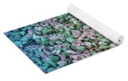 Cool Blue Pink Petals On Stones Yoga Mat