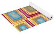 Crimson Gold And Squares  Yoga Mat