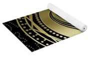 Decorative Khanda Symbol Gold On Black Yoga Mat
