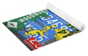 Detroit The Motor City Michigan License Plate Art Collage Yoga Mat