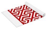 Diagonal Greek Key With Border In Red Yoga Mat