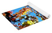 Fall Apricot Leaves Yoga Mat